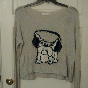Cute Crop Sweater Bulldog New With Tags